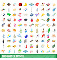 100 hotel icons set isometric 3d style vector image