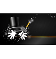Background with top hat magic wand and hand vector image