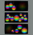 banners with colorful transparent spheres vector image
