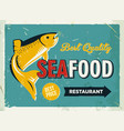 grunge retro metal sign with seafood logo vintage vector image