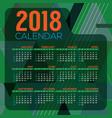 2018 printable calendar starts sunday vector image vector image
