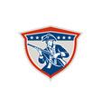 american patriot holding musket rifle shield retro vector image vector image