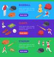 baseball game sport signs 3d banner horizontal set vector image vector image