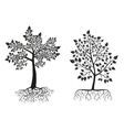 Black trees and roots silhouettes with leaves vector image vector image