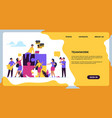 business teamwork landing page puzzle elements vector image vector image