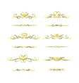 Calligraphic frame golden set vector image vector image