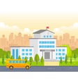 City school building with yellow bus - modern