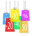 color sale offer tags hanging on the rope stock vector image vector image