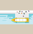 crowd of people getting on boat vector image vector image