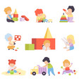 cute little kids playing with toys set toddler vector image