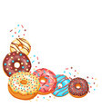 decoration with glaze donuts and sprinkles vector image vector image