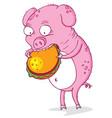 greedy pig vector image vector image