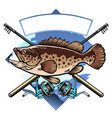 grouper fishing shirt design vector image vector image