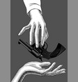 hand holding in fingers a gun vector image vector image