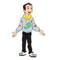 happy teen boy gesturing vector image vector image