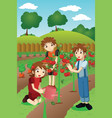 kids planting vegetables and fruits vector image