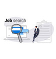 male job applicant leaning on resume using online vector image vector image