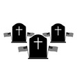 memorial day three tombstone black and white vector image vector image