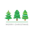 merry christmas card with cute trees vector image