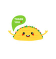 mexican taco character saying thank you vector image vector image