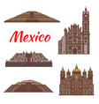 mexico landmarks aztec architecture icons vector image vector image
