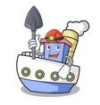 miner ship mascot cartoon style vector image vector image