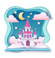 open fairy tale book with castle with clouds vector image