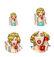 pop art woman or girl speaking by phone receiver vector image