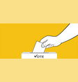 presidential election hand places ballot with vector image vector image