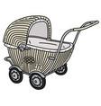 retro light wicker stroller vector image