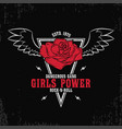 rock and roll girls power - grunge typography vector image vector image