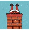 santa claus chimney stuck snow design vector image