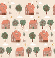 seamless pastel colorful pattern with houses vector image vector image
