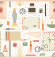 seamless pattern various supplies old vector image vector image