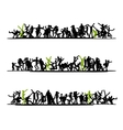 Sketch of people crowd for your design vector | Price: 1 Credit (USD $1)