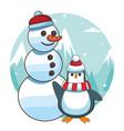 snowman and penguin cartoon vector image vector image