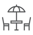 street cafe line icon table and chair umbrella vector image