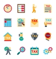 Tax icons in flat style set vector image vector image