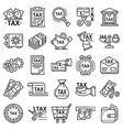 taxes icon set outline style vector image