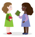 two girls are talking about books at school
