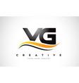 vg v g swoosh letter logo design with modern vector image vector image