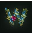 w letter Flower alphabet Colorful font vector image