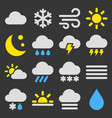 weather icons set on black background vector image