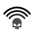 wi-fi death wifi mortal wireless connection skull vector image vector image