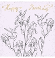 Happy Birthday Card with bunch of irises vector image