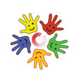 colorfull palm of the hands vector image