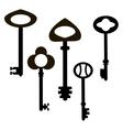 Old five black keys on a white background vector image