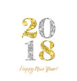 2018 happy new year with gold and silver glitter vector image