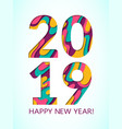 2019 happy new year card with paper cut shapes vector image