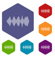 audio digital equalizer technology icons set vector image vector image